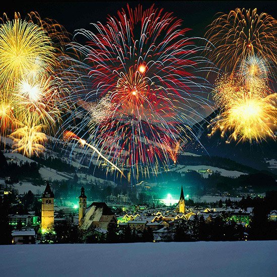 fireworks light effect Kitzbuhel night at night New Year Austria Europe New Year's Eve New Year's Eve nigh